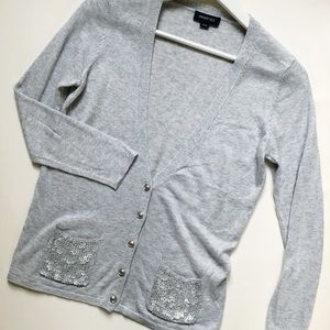 SMART SET Light Grey Cardigan Pockets